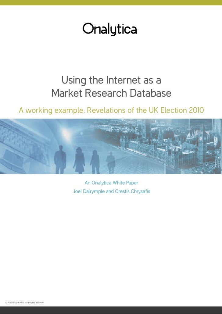 Using the Internet as a                                              Market Research Database               A working exam...
