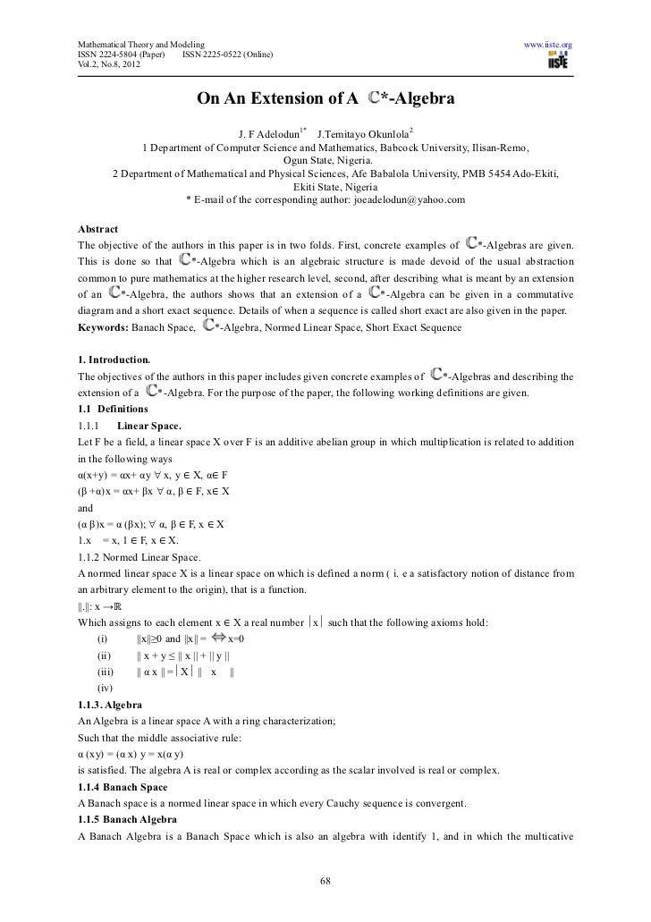 Mathematical Theory and Modeling                                                                           www.iiste.orgIS...