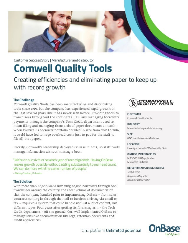 The Challenge Cornwell Quality Tools has been manufacturing and distributing tools since 1919, but the company has experie...