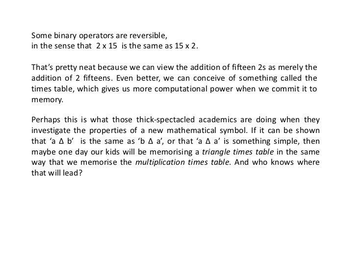 On Binary Operators In Mathematics