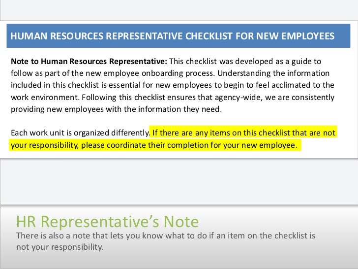 Onboarding Checklist Overview Human Resource Representatives – Human Resources Representative