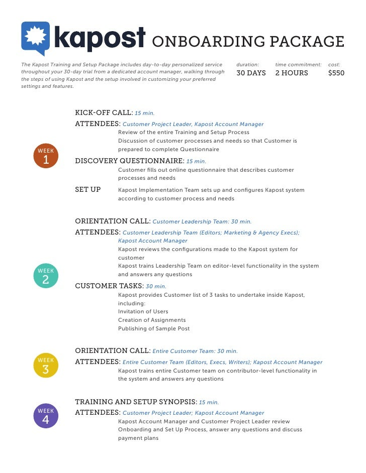 ONBOARDING PACKAGEThe Kapost Training and Setup Package includes day-to-day personalized service   duration:    time commi...