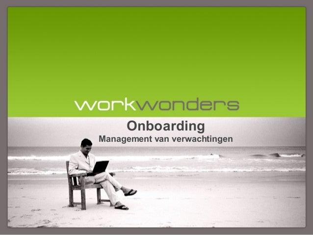 Onboarding Management van verwachtingen