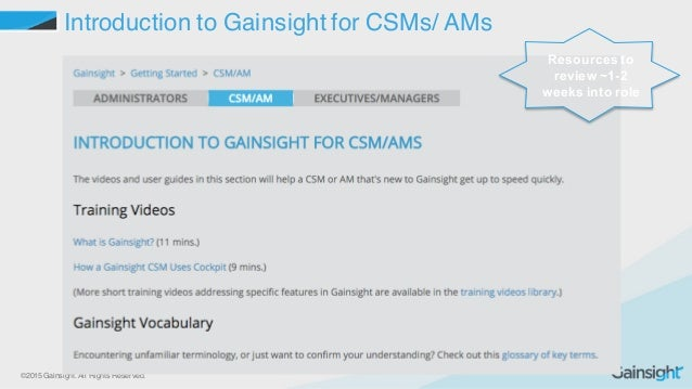 ©2015 Gainsight. All Rights Reserved. Introduction to Gainsight for CSMs/ AMs Resources to  review ~1-2  weeks into ...