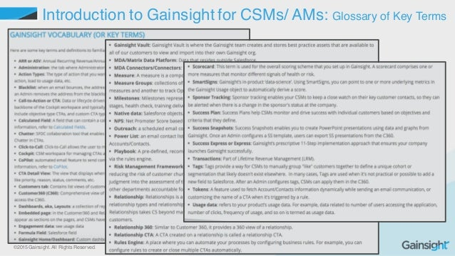 ©2015 Gainsight. All Rights Reserved. Introduction to Gainsight for CSMs/ AMs: Glossary of Key Terms