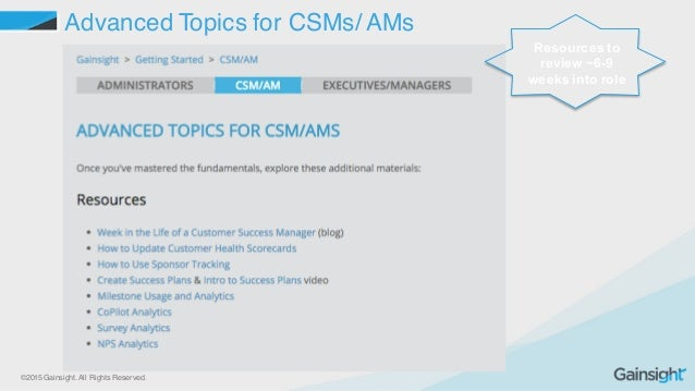 ©2015 Gainsight. All Rights Reserved. Advanced Topics for CSMs/ AMs Resources to  review ~6-9  weeks into role