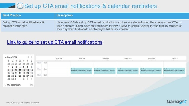 ©2015 Gainsight. All Rights Reserved. Best Practice  Description Set up CTA email notifications &  calendar remin...