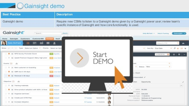©2015 Gainsight. All Rights Reserved. Best Practice  Description Gainsight demo  Require new CSMs to listen to a...