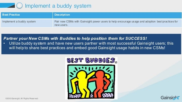©2015 Gainsight. All Rights Reserved. Best Practice  Description Implement a buddy system Pair new CSMs with Gains...