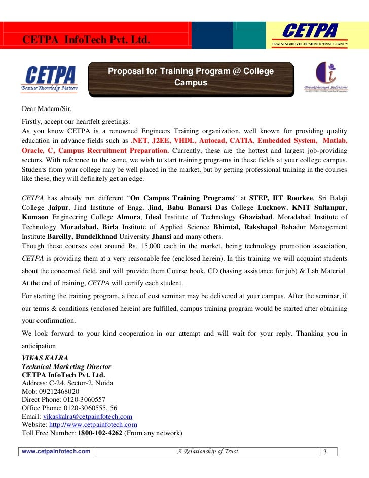 Cetpa On Campus Training Proposal For Different Colleges