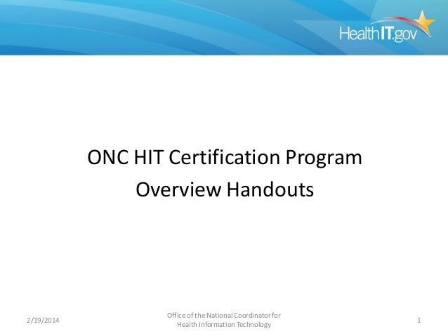 ONC Health IT Certification Program