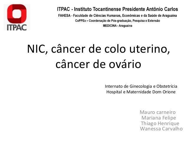 NIC, câncer de colo uterino, câncer de ovário Mauro carneiro Mariana Felipe Thiago Henrique Wanessa Carvalho Internato de ...