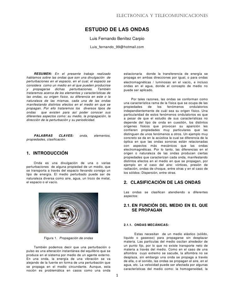 Electrónica y Telecomunicaciones                                          ESTUDIO DE LAS ONDAS                            ...