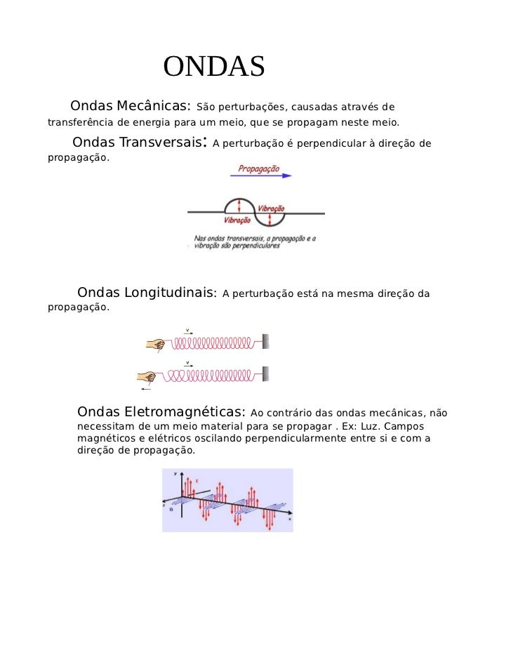 ONDAS    Ondas Mecânicas:       São perturbações, causadas através detransferência de energia para um meio, que se propaga...