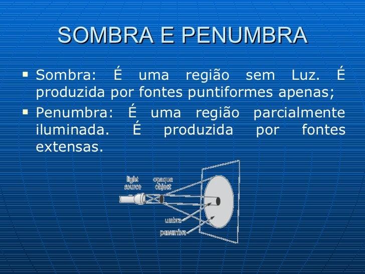 SOMBRA E PENUMBRA <ul><li>Sombra: É uma região sem Luz. É produzida por fontes puntiformes apenas; </li></ul><ul><li>Penum...