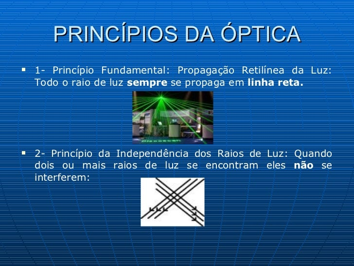PRINCÍPIOS DA ÓPTICA <ul><li>1- Princípio Fundamental: Propagação Retilínea da Luz: Todo o raio de luz  sempre  se propaga...