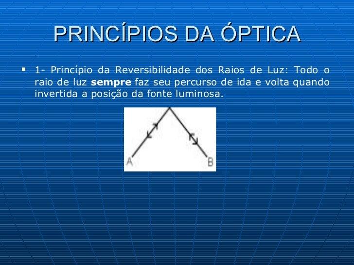 PRINCÍPIOS DA ÓPTICA <ul><li>1- Princípio da Reversibilidade dos Raios de Luz: Todo o raio de luz  sempre  faz seu percurs...