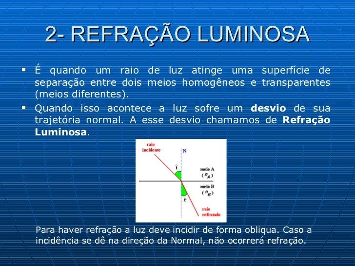 2- REFRAÇÃO LUMINOSA <ul><li>É quando um raio de luz atinge uma superfície de separação entre dois meios homogêneos e tran...