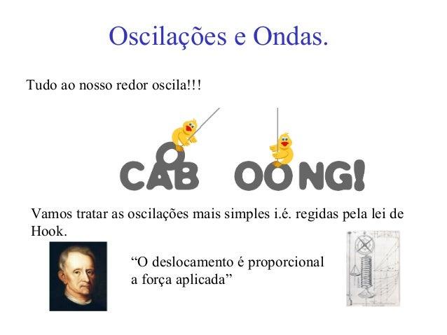 Oscilações e Ondas.Tudo ao nosso redor oscila!!!Vamos tratar as oscilações mais simples i.é. regidas pela lei deHook.     ...
