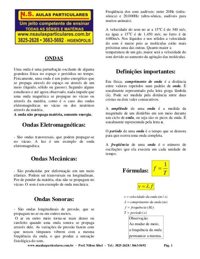 www.nsaulasparticulares.com.br – Prof. Nilton Sihel – Tel.: 3825-2628 / 3663-5692 Pág. 1 ONDAS Uma onda é uma perturbação ...