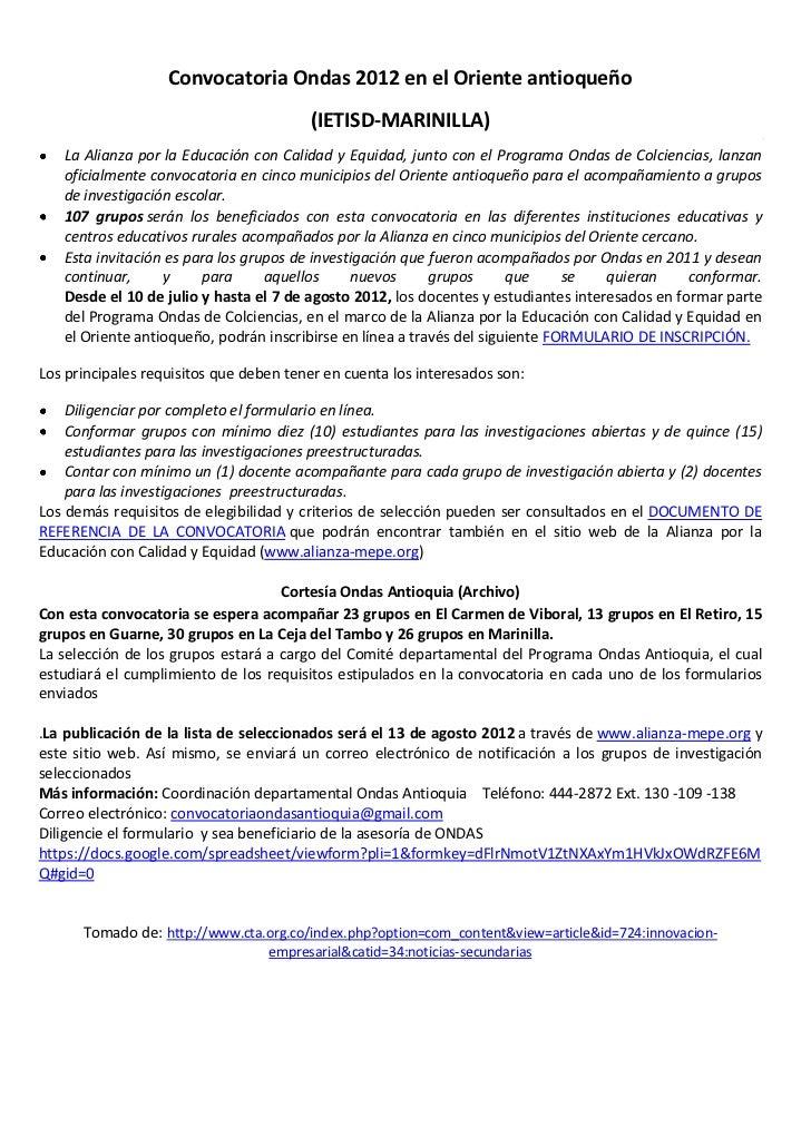 Convocatoria Ondas 2012 en el Oriente antioqueño                                        (IETISD-MARINILLA)   La Alianza po...