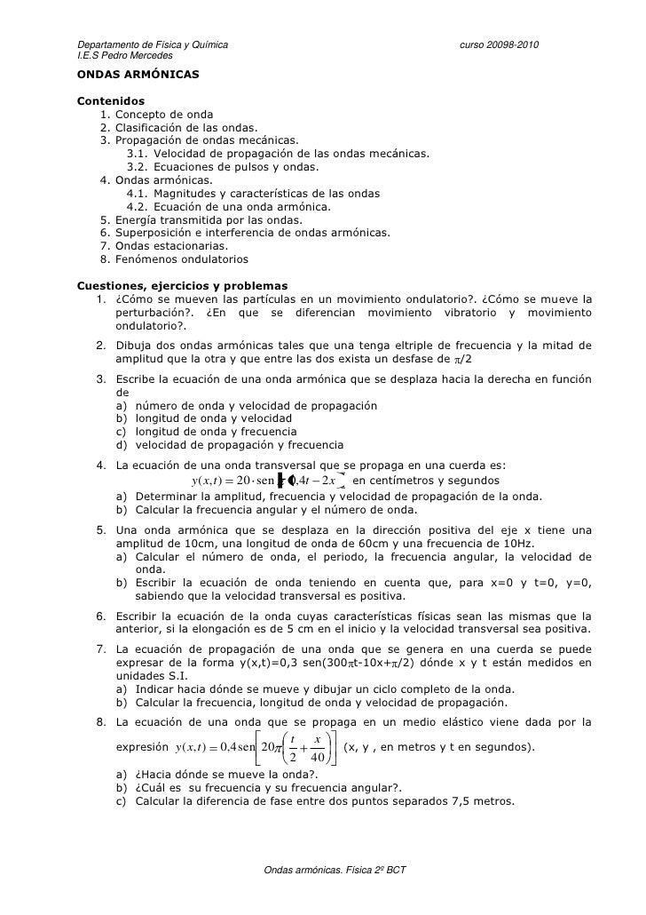 Departamento de Física y Química                                             curso 20098-2010 I.E.S Pedro Mercedes ONDAS A...