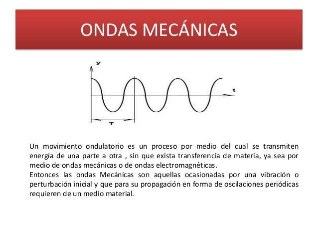 ONDAS MECÁNICASUn movimiento ondulatorio es un proceso por medio del cual se transmitenenergía de una parte a otra , sin q...