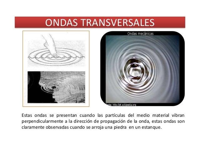 ONDAS TRANSVERSALESEstas ondas se presentan cuando las partículas del medio material vibranperpendicularmente a la direcci...