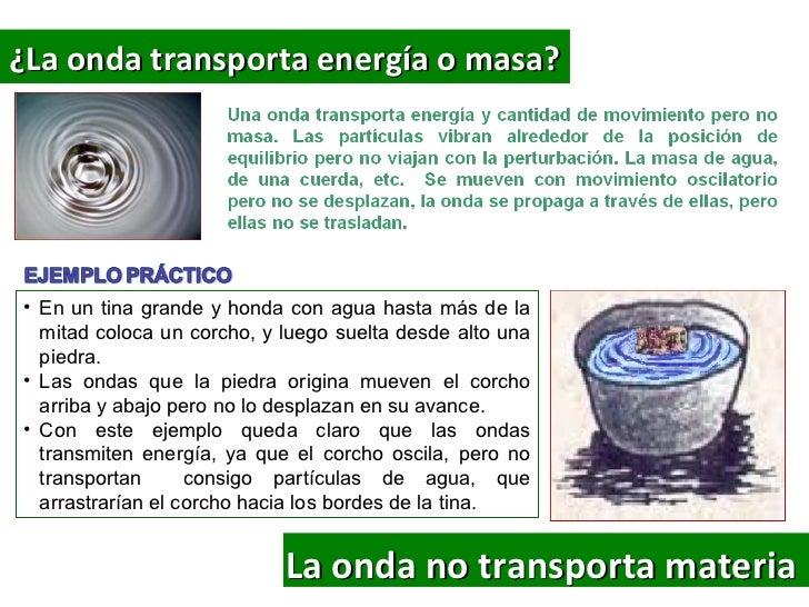 ¿La onda transporta energía o masa?• En un tina grande y honda con agua hasta más de la  mitad coloca un corcho, y luego s...