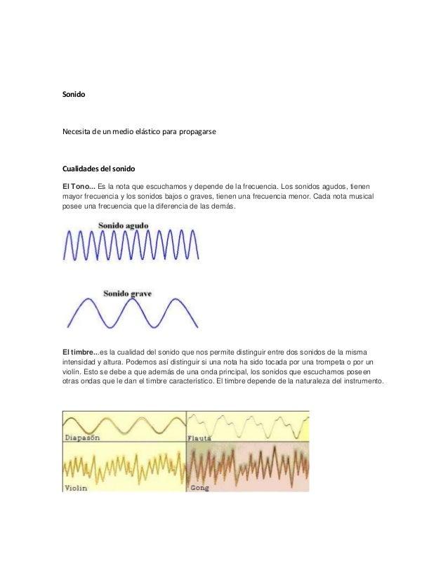 Sonido Necesita de un medio elástico para propagarse Cualidades del sonido El Tono... Es la nota que escuchamos y depende ...