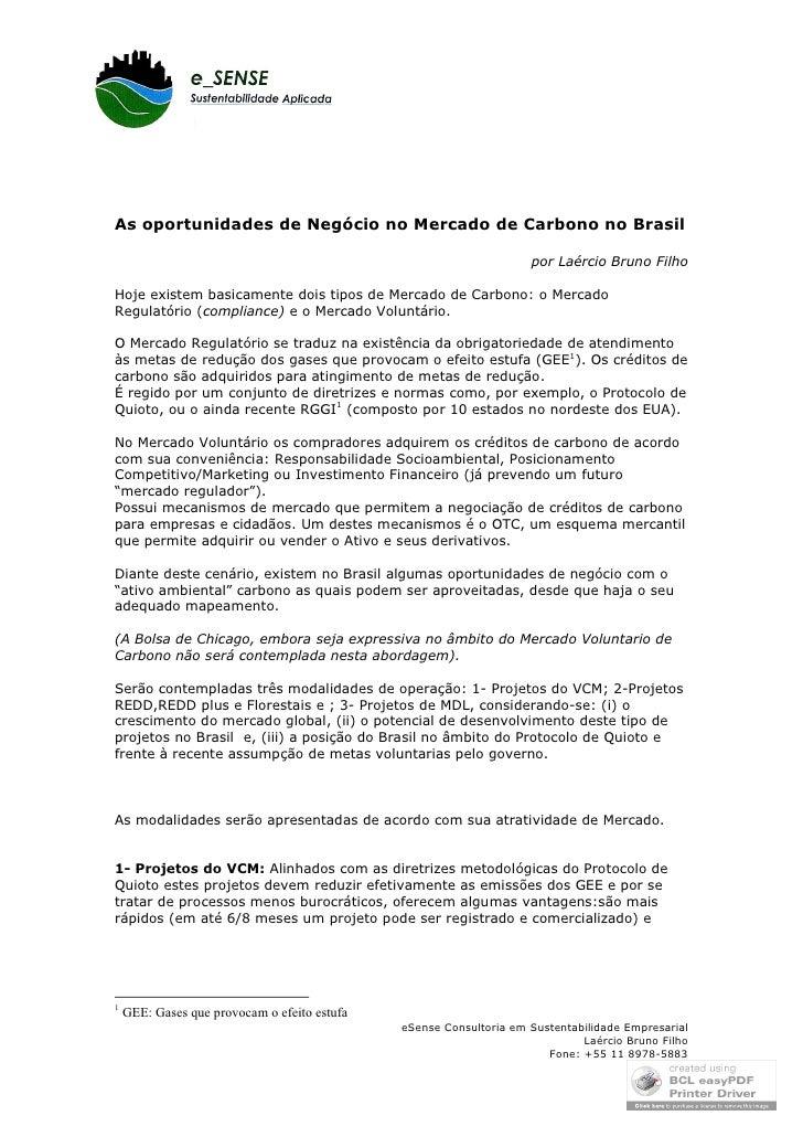 As oportunidades de Negócio no Mercado de Carbono no Brasil                                                               ...