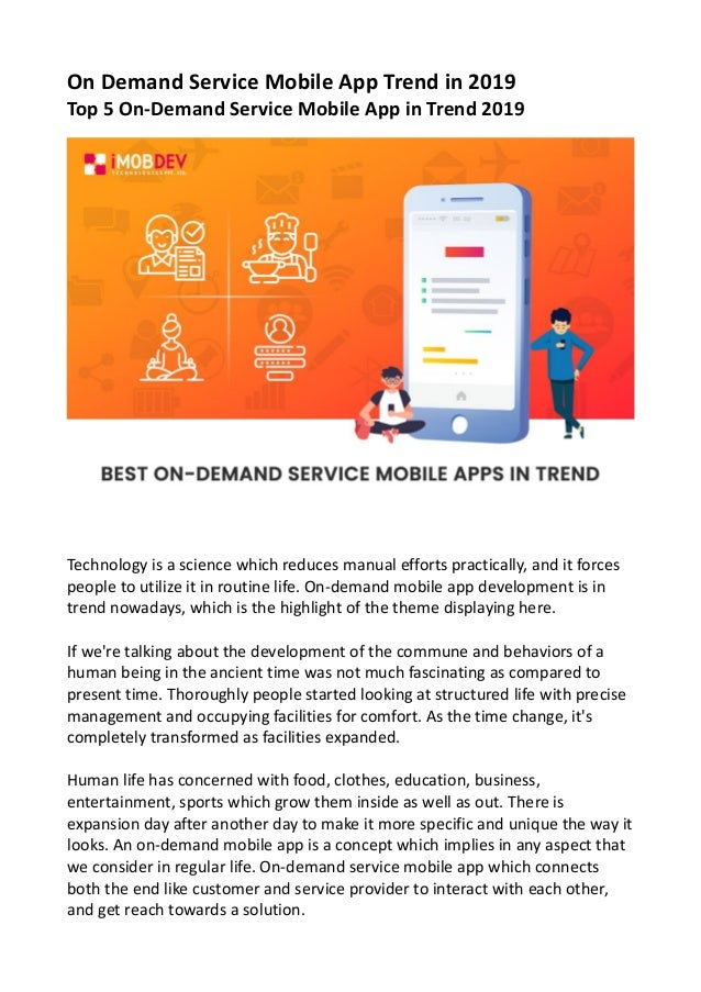 On Demand Service Mobile App Trend in 2019 Top 5 On-Demand Service Mobile App in Trend 2019 Technology is a science which ...