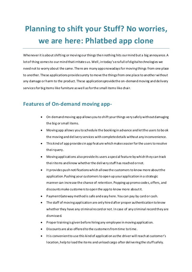 Planning to shift your Stuff? No worries, we are here: Phlatbed app clone Wheneveritisaboutshiftingormovingourthingsthenno...