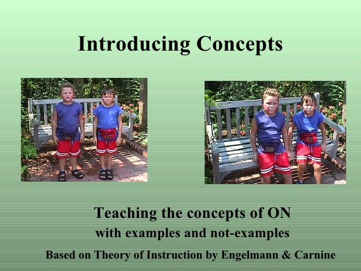 Introducing Concepts Teaching the concepts of ON with examples and not-examples Based on Theory of Instruction by Engelman...