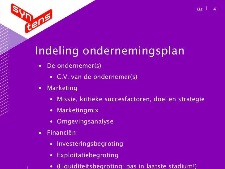 indeling ondernemingsplan Ondernemingsplan indeling ondernemingsplan