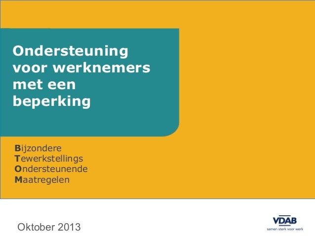 Ondersteuning voor werknemers met een beperking Bijzondere Tewerkstellings Ondersteunende Maatregelen  Oktober 2013