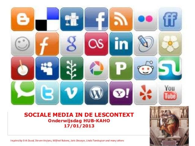 SOCIALE MEDIA IN DE LESCONTEXT                                 Onderwijsdag HUB-KAHO                                      ...