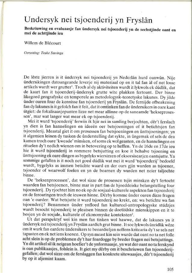 Onderzoek naar tovenarij in Friesland, It Beaken 1987