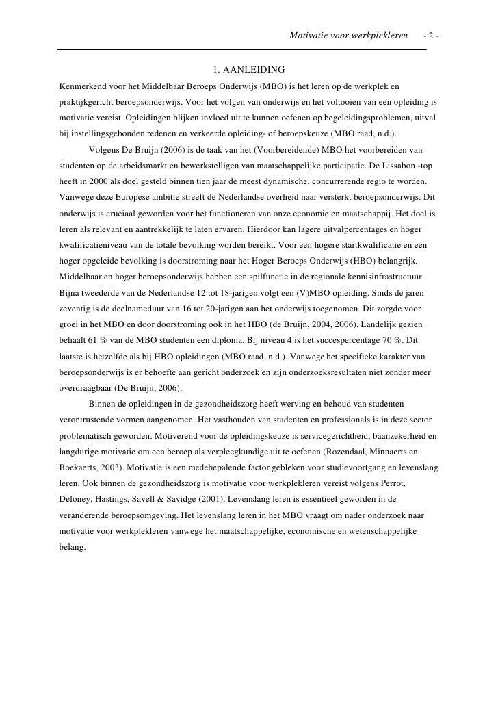 voorbeeld motivatiebrief opleiding hbo Onderzoeksartikel naar motivatie bij werkplekleren voorbeeld motivatiebrief opleiding hbo