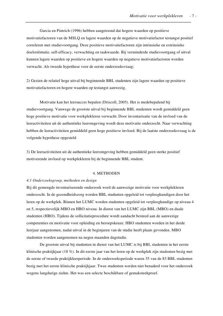 voorbeeld motivatiebrief hbo opleiding Onderzoeksartikel naar motivatie bij werkplekleren voorbeeld motivatiebrief hbo opleiding
