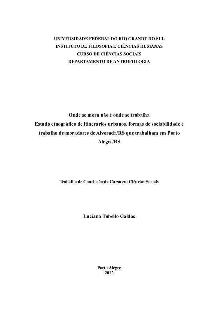 UNIVERSIDADE FEDERAL DO RIO GRANDE DO SUL         INSTITUTO DE FILOSOFIA E CIÊNCIAS HUMANAS                   CURSO DE CIÊ...