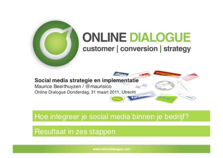 Social media strategie en implementatie!Maurice Beerthuyzen / @maurisico!Online Dialogue Donderdag, 31 maart 2011, Utrecht...