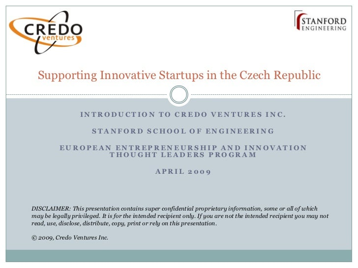 Supporting Innovative Startups in the Czech Republic                     INTRODUCTION TO CREDO VENTURES INC.              ...