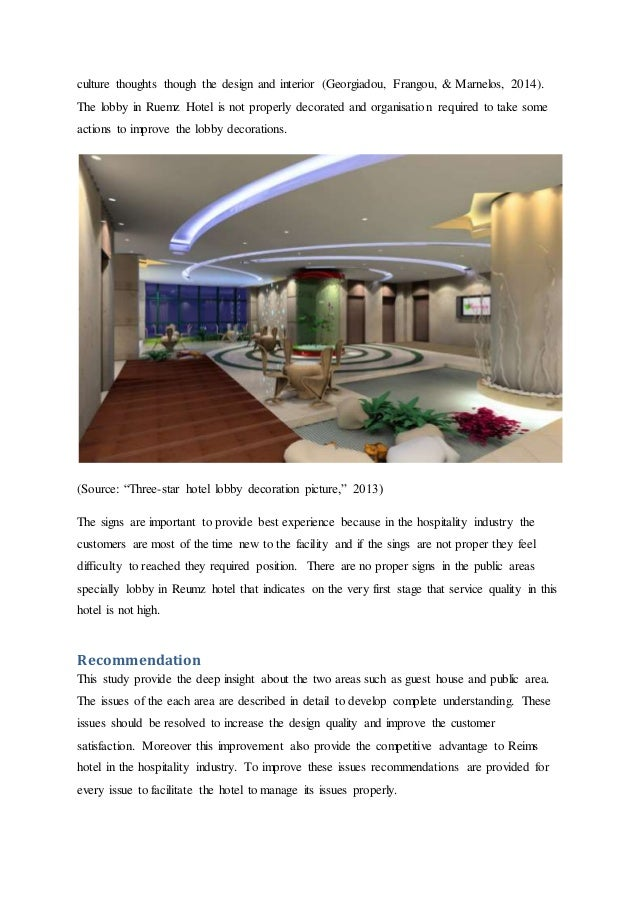 The analysis of hotel design and recommendation for improvements at R