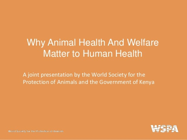 Why Animal Health And Welfare Matter to Human Health A joint presentation by the World Society for the Protection of Anima...