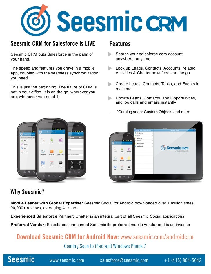 Seesmic CRM for Salesforce is LIVE                      FeaturesSeesmic CRM puts Salesforce in the palm of              5$...
