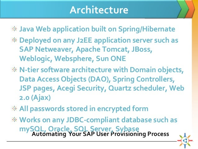 Cloud based sap user provisioning for N tier architecture in java