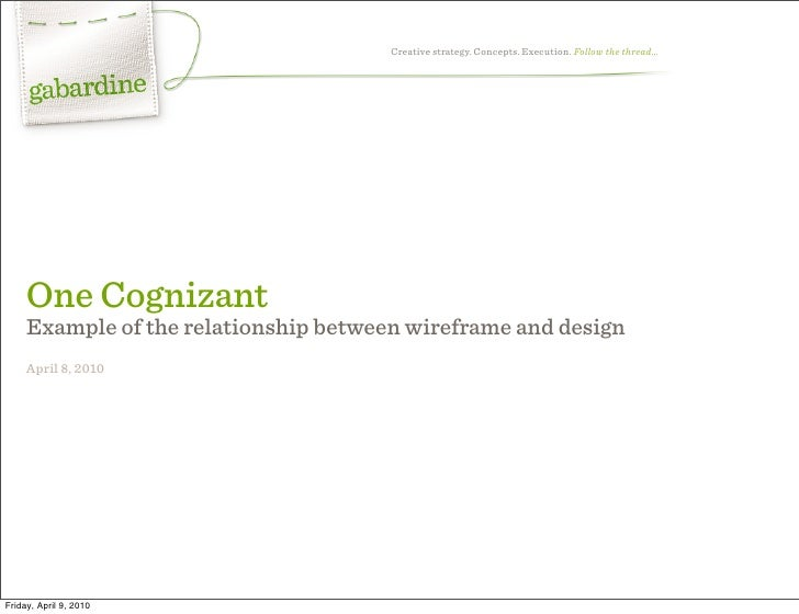 Creative strategy. Concepts. Execution. Follow the thread…          One Cognizant      Example of the relationship between...