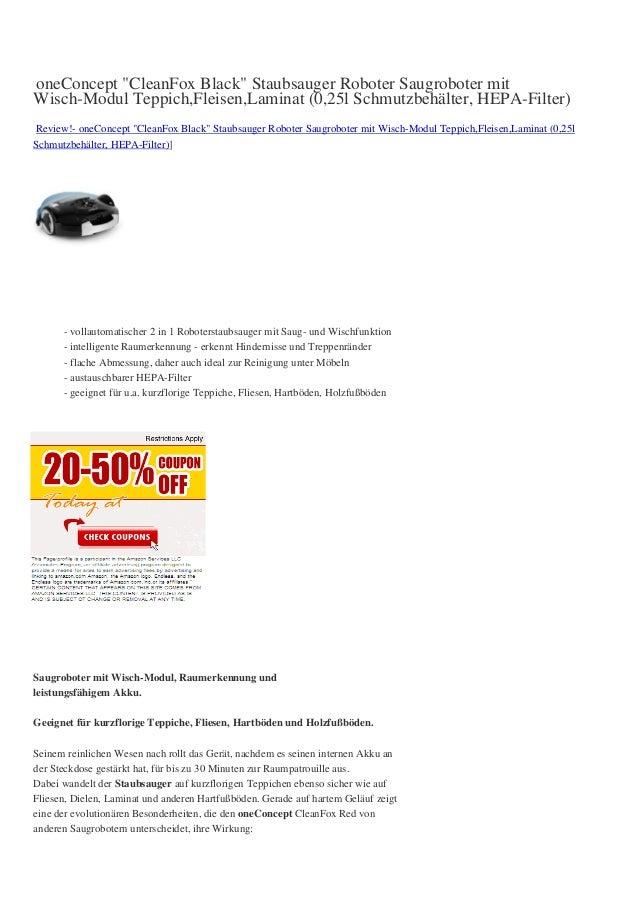 """oneConcept """"CleanFox Black"""" Staubsauger Roboter Saugroboter mitWisch-Modul Teppich,Fleisen,Laminat (0,25l Schmutzbehälter,..."""