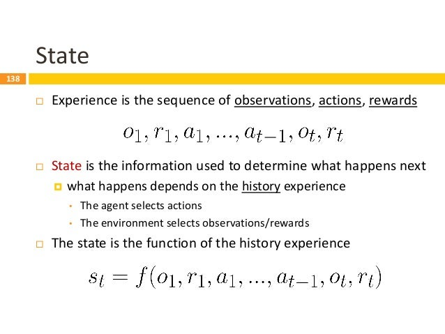 139 observation ot action at reward rt Environment State  The environment state 𝑠𝑡 𝑒 is the environment's private represe...